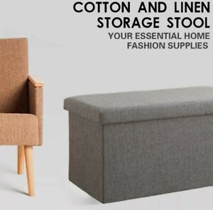 Ottoman storage box with Linen fabric cover double size Pouffe Natural Taupe