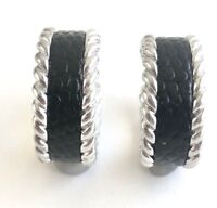 Arthur Court Jewelry Earrings Aluminum 3.5in Hooks Dangle Black Wood Chandelier