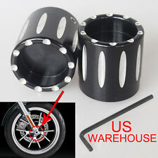 Set Deep Edge Cut Front Axle Cover Cap Nut For Harley Sportster XL883 XL1200 US