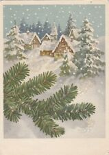 1950s FRITZ BAUMGARTEN New Year snowy town houses trees old German postcard