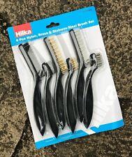 "Hilka 6pc Mini Wire Brush Set - 7"" & 9"" - Nylon, Brass, Steel Cleaning Brush"