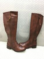 Steve Madden LANE Brown Leather Side Zip Knee High Boots Women's Size 11 M