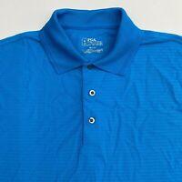 PGA Tour Golf Polo Shirt Men's Small Short Sleeve Blue Side Vent 100% Polyester