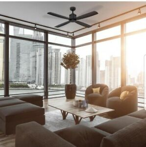 NEW HOME DECOR  Kitteridge Black 52 in. Integrated LED Indoor  Ceiling Fan