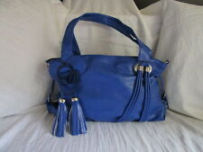 Handtasche Shopper Blau mit Blume Stabil Groß 2 Henkel