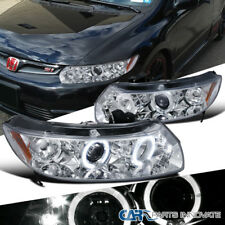 Fit 2006-2011 Honda Civic 2Dr Coupe Chrome LED Halo Projector Headlights Lamps