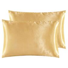 2Pc Solid Satin Silk Fabric Pillowcase Cushion Cover Bedding Standard Queen King