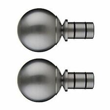Pair of John Lewis Polished Steel Solid Ball 25mm Curtain Pole Finials