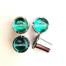 Jaguar Green and Silver Valve Stem Caps Set of 4 MADE IN THE USA