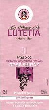 Etiquette de vin - Vin de pays d'Oc - Princesse de LUTETIA - Rosé Shiraz - 2011