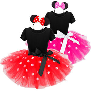 Princess Girl Minnie Mouse Dress Kids Dots Birthday Party Wear Match Headband