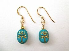 Scarab Turquoise And Gold Beaded Earrings - Charming!