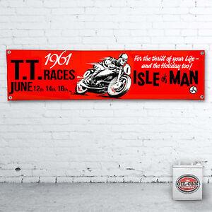 ISLE OF MAN 1961 TT RACES Banner  –  heavy duty for workshop, garage 1200x305mm