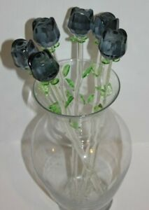 "Bouquet of 6 x 12"" Black Glass Roses with Green Leaves, Halloween House decor!"