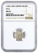 1300-1400 Austria Hall Silver Hand Silver 1 Heller NGC MS62 Story Vault SKU45752