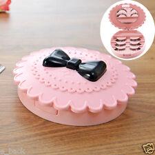 Cute Acrylic Bow False Eyelash Storage Box Makeup Cosmetic Mirror Case Organizer