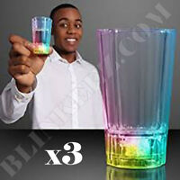 3X LED LIGHT UP Liquid Activated Shot Glass Party Holiday Drinking Light Up Fun