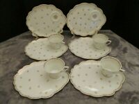ANTIQUE LIMOGES PATE DE RARE GOLD FLOWERS & TRIM 6 SNACK PLATES 4 DAINTY CUPS