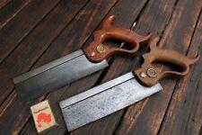 Pair Vintage Antique Henry Disston & Sons Tenon Saw Keystone Steel Blade Brass