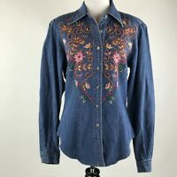 Hairston Roberson ROPA Women Button Embroidered Long Sleeve Denim Shirt sz S