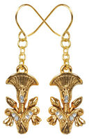 Egyptian Golden Papyrus Plant Earrings Set Pewter Jewelry. Ancient Egypt. 2911S