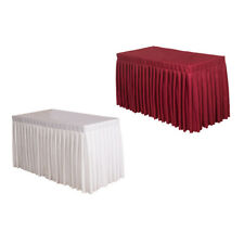 2x Fitted Table Skirt Polyester Table Cover Wedding Banquet Decorative Cloth