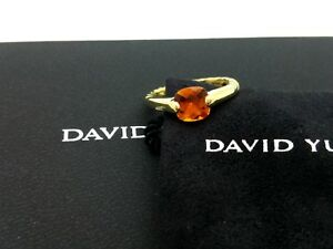 David Yurman 18k Yellow Gold 7mm Citrine Classic Cable Ring Size 7 Pouch