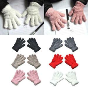 Girls Boys Kids Plush Winter Warm Gloves Children Outdoor Full Fingers Mittens