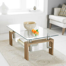 Modern Rectangle Square Glass & Chrome Living Room Coffee Table With Lower Shelf