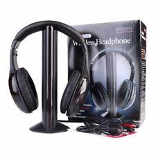 5 in 1 Wireless Headphone Cordless RF Earphone Headset Earbuds Mic For FM TV