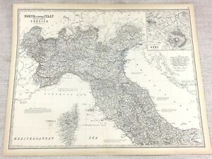 1861 Antique Map of Northern Italy ROME Corsica Hand Coloured Engraving Johnston