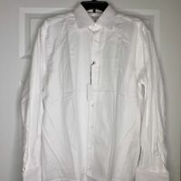 New Thomas Pink White Albury Twill Dress Shirt Mens Size 15.5-34 French Cuff