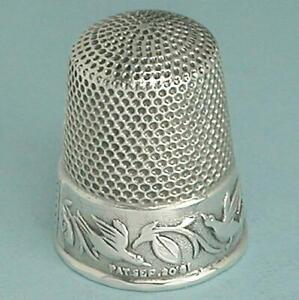 Antique Sterling Silver Patented Birds Thimble * Ketcham & McDougall *Circa 1880