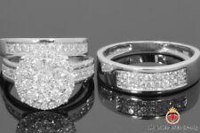 Diamond Trio Set 10K White Gold Ladies Engagement Ring Mens Wedding Band 2.10Ct