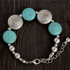 New Tibetan Silver Turquoise Boho Blue Charm Bracelet Bangle Jewellery Gift Bag