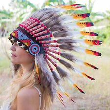 HANDMADE INDIAN HEADDRESS 65CM FEATHERS American chief Costume WARBONNET