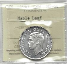 **1947 Maple Leaf**, ICCS Graded Canadian 50 Cent, **MS-64**