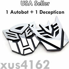 3D Chrome 1 Autobot + 1 Decepticon 3 Inch Transformers Emblem Badge Decal Car
