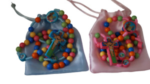 First Rosary Beads Pink or Blue Catholic Gift Communion Confirmation Xmas Easter