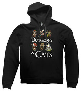 Dungeons and Cats HOODIE Dragons DND RPG GM DM cute top present gift
