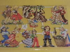 1x Poesiebilder Oblaten Kinder 044 Glanzbilder Paare Fische reiten Tanzen Blumen