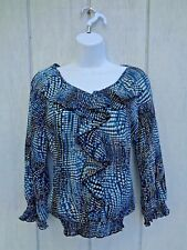 Nicola Women's Sheer Blouse Peasant 3/4 Sleeve Blue Floral Small Polka Dot White