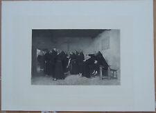 Vintage B/W etching Figures Portraits J Frappa Monks Giving Corporal Punishment