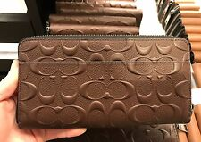 NWT Coach Men's Embossed Signature Accordion Zip Around Wallet F58113 - Mahogany
