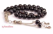 REAL Black Agate Stone Islamic Prayer 33 beads Tasbih Misbaha Rosary Tasbeeh 8mm