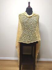 Womens Poncho Wrap Shawl Italian Knit Lace Green Yellow Sunset One Size NEW