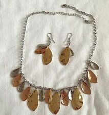 two tone gold silver colour drippy necklace and earring set