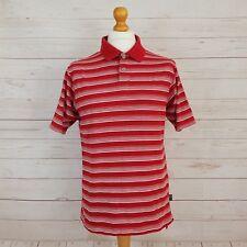 Adidas Mens Red White Stripe Shirt Sleeve Collared Polo Shirt Top Size Medium