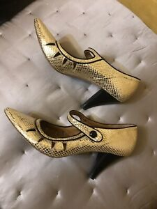 *MISS SIXTY Gold Leather Metallic Shiny Shoes, Heels, Size 8.5, Made In Italy