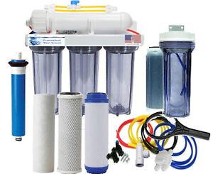 RO/DI Aquarium Reef Clear Reverse Osmosis System 150 GPD Single DI Manual Flush